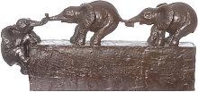 Decorazione a elefanti, in poliresina, da 44X19 cm