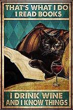 Decorazione da parete a tema gatto nero lettura