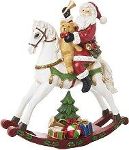Decorazione di Natale cavallo a dondolo e Babbo