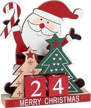 Decorazione natalizia calendario in legno rosso,