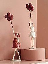 Decorazione scultura,ragazza palloncino resina