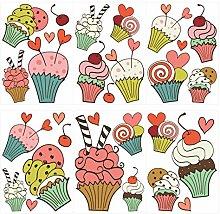 dekodino® Adesivo murale cupcake a colori con