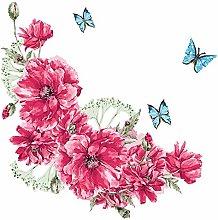 dekodino® Adesivo murale fiore viticcio farfalle