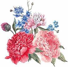 dekodino® Adesivo murale fiori e foglie rosso