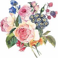 dekodino® Adesivo murale i fiori acquerello mazzo