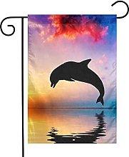 Delfini che saltano sul mare giardino bandiere