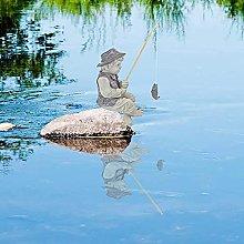 DHYED Statua da giardino Pescatore Ragazzo
