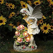 Dhyed - Statua decorativa in resina rosa, angelo e