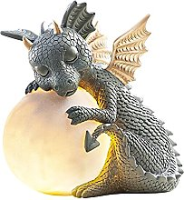DHYED Statua di drago da giardino, illuminata, con