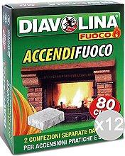 DIAVOLINA Set 12 Accendifuoco X 80 Bipacco per