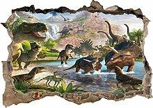 Dinosauri 3D fracassato Wall Sticker Poster