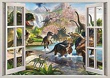 Dinosauri 3D Window Wall Sticker Poster