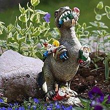 Dinosauro Mangiare Statua di Gnomo Da