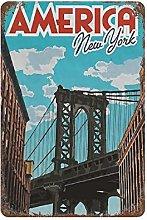 DJNGN America City Retro pittura in ferro Targa in
