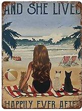 DJNGN Beach Surfing Retro pittura in ferro Targa