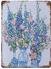 DJNGN Blue And White Floral Retro pittura in ferro