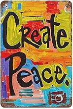 DJNGN Create Peace Retro pittura in ferro Targa in