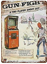 DJNGN Gun Fight Video Game Retro pittura in ferro