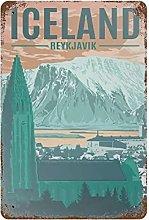 DJNGN Iceland Retro pittura in ferro Targa in