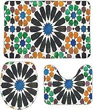 DKISEE - Set di 3 tappeti da bagno in pile color