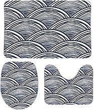 DKISEE - Set di 3 tappeti da bagno in pile