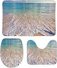 DKISEE Set di 3 tappeti da bagno in pile di