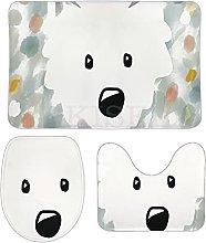 DKISEE - Set di 3 tappeti da bagno in pile di