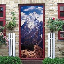 DNHFUI Adesivo Design Porta montagne innevate,