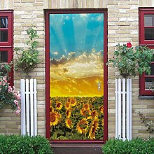 DNHFUI Adesivo Murale Porta 3D piante, paesaggi,