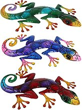 DOITOOL 3Pcs Gecko del Metallo Decorazione di Arte