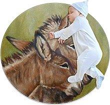 Donkey Hugs pittura zerbino rotondo lavabile