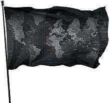 DRXX Bandiera della Mappa del Mondo nera150x90cm