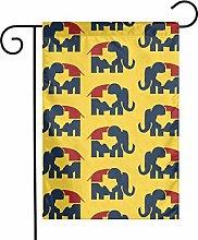 DRXX Decorazione Bandiera da Giardino Elefante