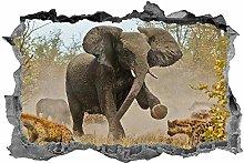 Elefante, adesivo, animali, 3d, decalcomania, arte