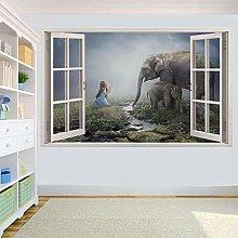 Elefante con Cuccioli e Fata Fantasy ADESIVO DA