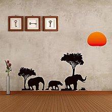 Elefanti Family Tree Forest Sun adesivi murali