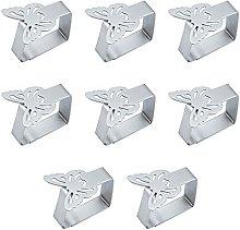 Elehui - 8 mollette in acciaio inox per tovaglia,