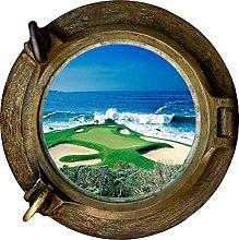 Enorme oblò 3D Golf Fairway vista oceano Adesivo