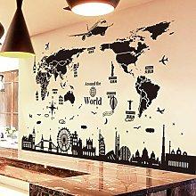 ERQINGQT Adesivo Murale World Map Wall Stickers