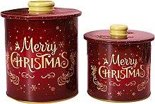 ERZU Scatola di latta natalizia con coperchio,