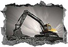 Escavatore, 3d, arte della parete, adesivo,