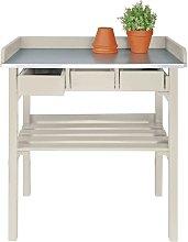 Esschert Design Tavolo da lavoro da esterno bianco