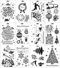 EXCEART 12Pcs di Natale A Tema Pittura Stencil
