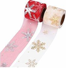 EXCEART 2 Pezzi di Fiocco di Neve Nastro di Natale