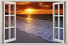 Exotic Beach Sunset 3D Window Decal Wall Sticker