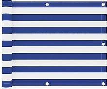 Famehours Paravento Balcone Bianco e Blu 75x500 cm