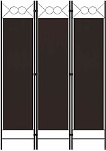 FAMIROSA Paravento a 3 Pannelli Marrone 120x180 cm
