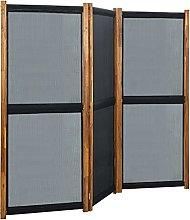 FAMIROSA Paravento a 3 Pannelli Nero 210x170 cm
