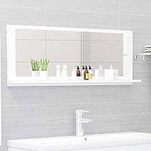 FAMIROSA Specchio da Bagno Bianco 100x10,5x37 cm