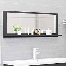 FAMIROSA Specchio da Bagno Grigio 100x10,5x37 cm